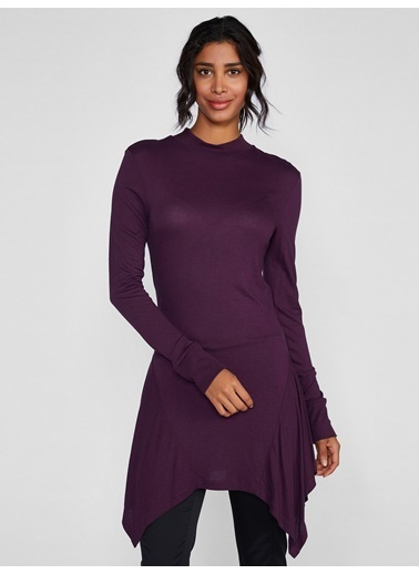 Vekem-Limited Edition Yarım Balıkçı Yaka Tunik Elbise Mor